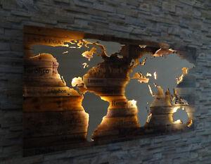 Weltkarte Aus Holz Sity 3d Effekt Led Beleuchtung Deko Wandbild