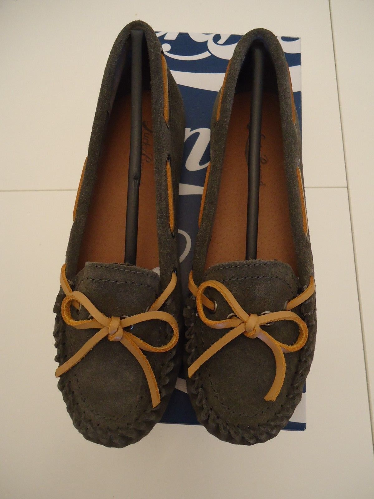 LUCKY BRAND MOCCASIN COW SPLIT SUEDE LP-ABELLE2 FLATS STORM, LEATHER SIZE 6M NEW