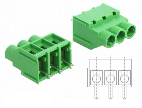 10 x Terminalblock für Platine Lötversion 3 Pin 6,35 mm Rastermaß vertikal grün