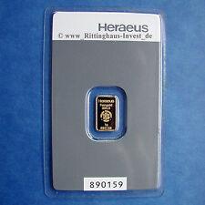 Goldbarren 1g 1 Gramm Feingold Heraeus Blister Gold 99,99 Zertifikat verschweißt