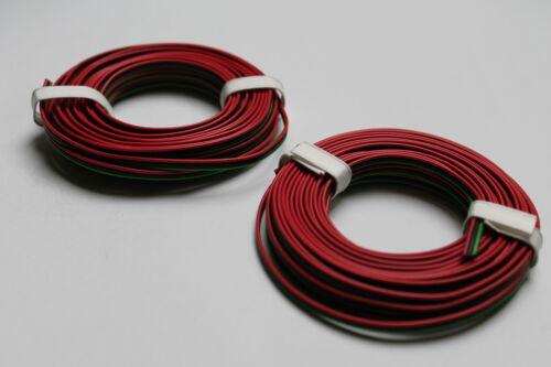 Modellbahnlitze 3-adrig; 0,14;  2x5 m Ring 1m=0,60€ grün//schwarz//rot; neu