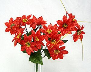 15 Mini Red Poinsettias Silk Wedding Flowers Centerpiece Bouquet Christmas Decor