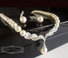 Kettenset Perlenkette Imitation silber  Ohrhänger Brautschmuck Bridal Juwelry