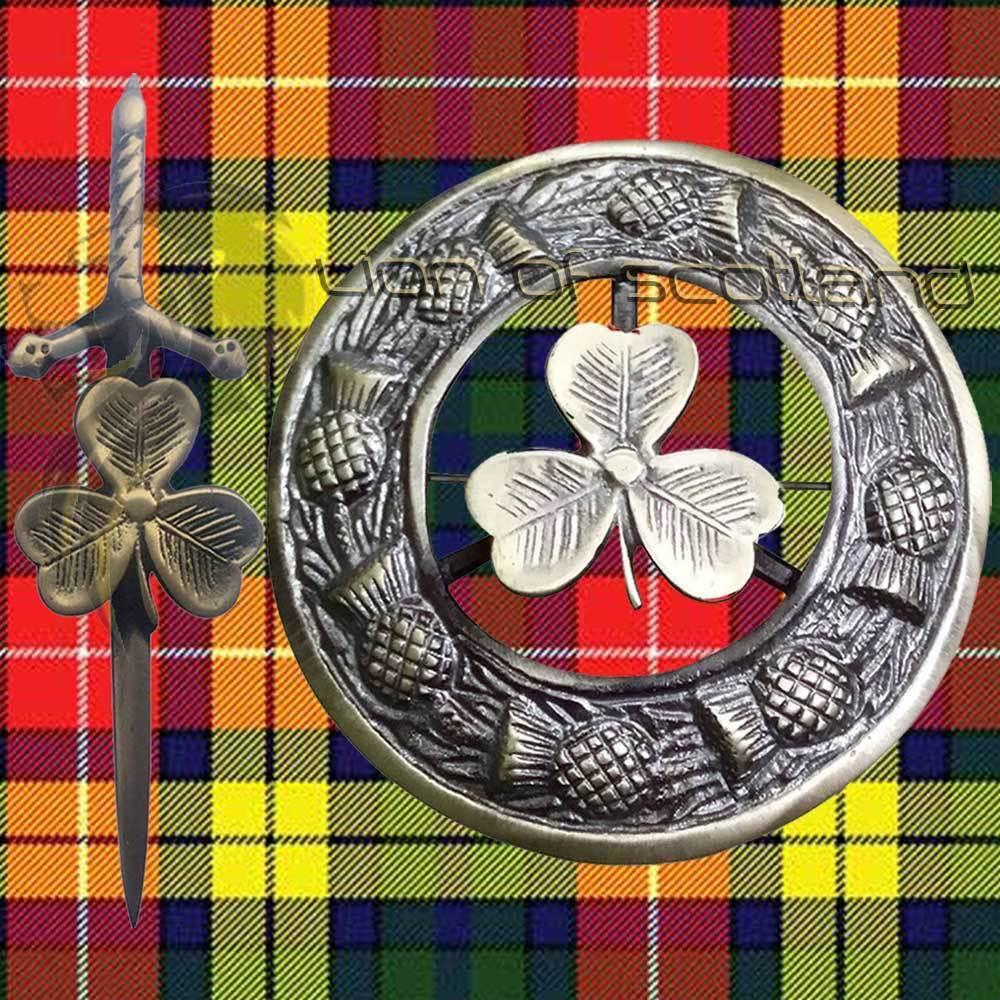 Scottish Kilt Fly Plaid Brooch Irish Shamrock 3