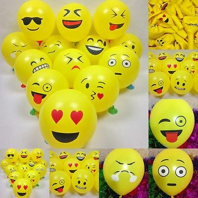 50Pcs Latex Cute Emoji Face Balloons For Festival Birthday Party Xmas Decoration