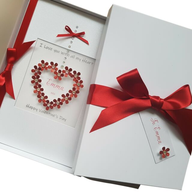LARGE A5 Personalised Handmade LUXURY Boxed Valentine's Day Card Glitter Heart