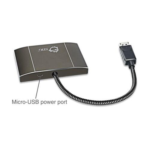 Muti Monitor Splitter 1x3 SIIG 3 Port DisplayPort to DisplayPort MST Hub 4k