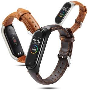 Strap-Ersatz-Armband-Gestell-aus-Metall-Leder-Band-For-Xiaomi-Mi-Band-3-4