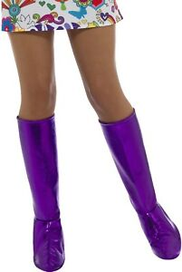 Ladies-Hippie-70s-Purple-GoGo-Boot-Cover-Fancy-Dress-Costume-Outfit-Accessory