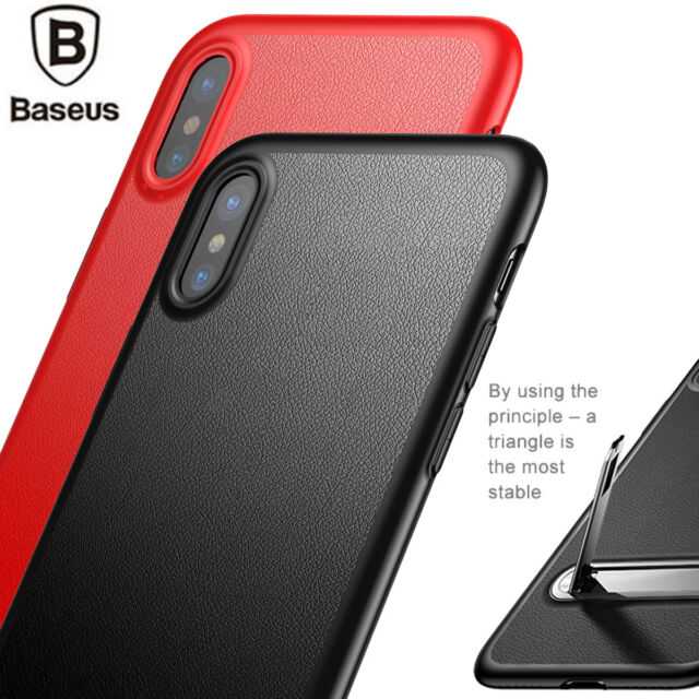 For Apple iPhone X Luxury Shockproof Ultra Slim Leather Case TPU Cover Kickstand