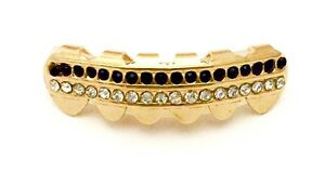14K Gold Plated Bottom Lower Mouth Teeth Grills Grillz Iced 2 Row Black / Clear
