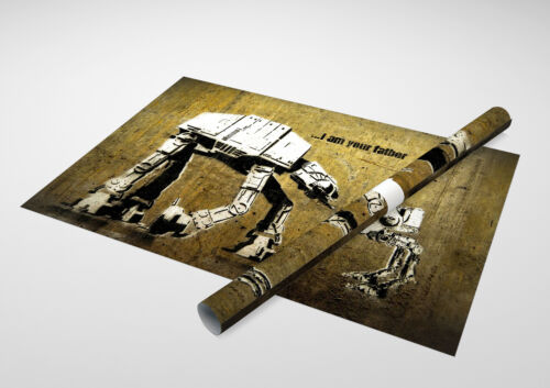 """Archival Canvas Print 30/""""x20/"""" Star Wars Banksy I am Your Father"""