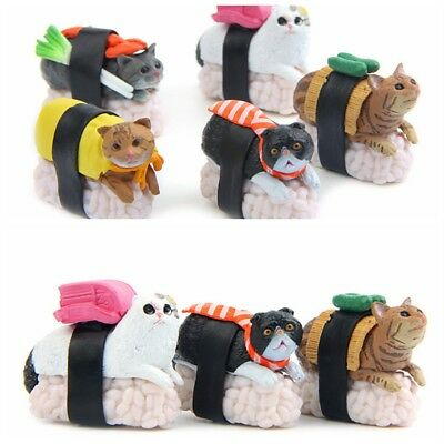 5 Types Cute Sushi Neko Cat Club Capsule Meow Mini Figure Kitty Collection Gift