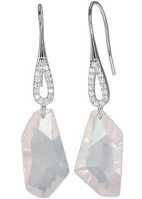 Rose Quartz Gemstone Sparkling Easy Wear Dangle Design Sterling Silver Earrings