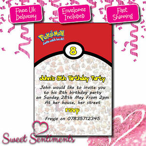 personalised pokemon invitations invite birthday party kids ebay