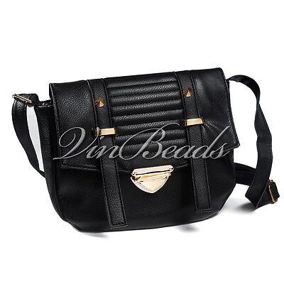 Fashion Small Black Vintage Leather Bag Women Messenger Shoulder Bag Casual Bag
