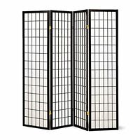Oriental Asian 4 Panel Room Screen Divider Privacy Wood Black Furniture Decor