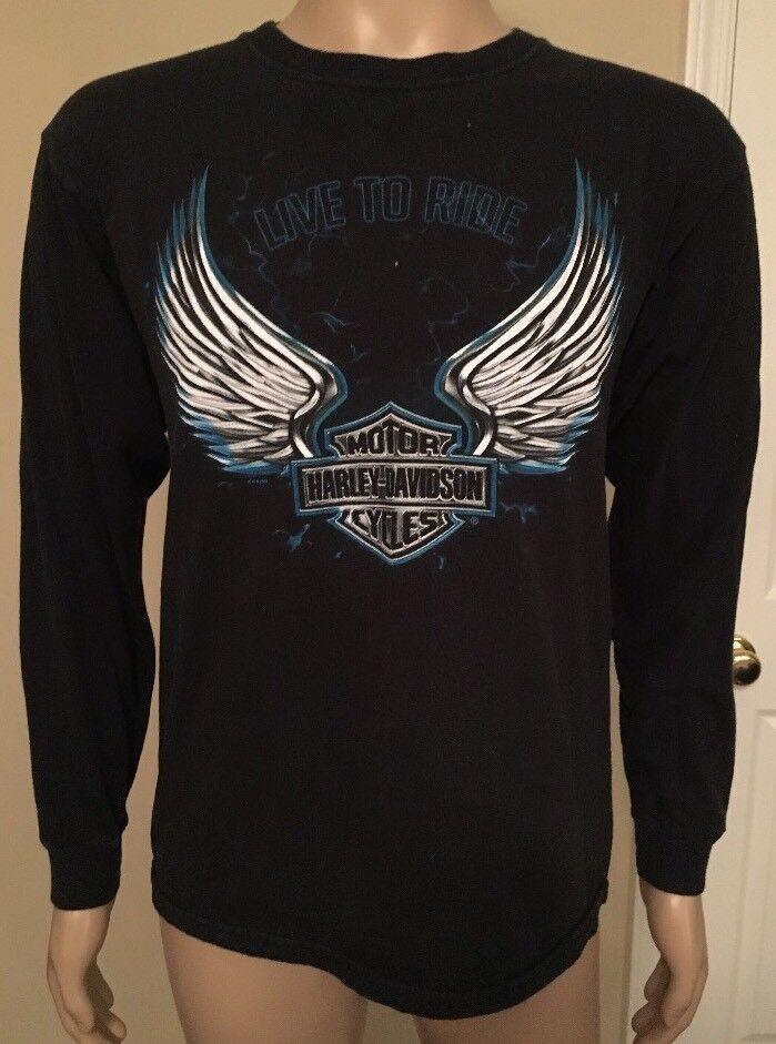 9c90e35391c89 Harley Collierville TN Long Sleeve T Shirt Angel Lightning Medium Wings  Davidson nznyns20574-T-Shirts