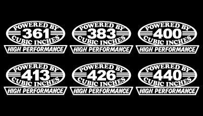 2 HP BIG BLOCK V8 ENGINE DECALS 361-383-400-413-426-440 MOTOR STICKERS