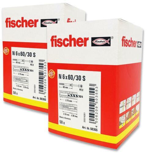 6 x 60mm 2x 50 Stück Schnelle Schlagmontage Fischer Nageldübel N 6x60//30 S