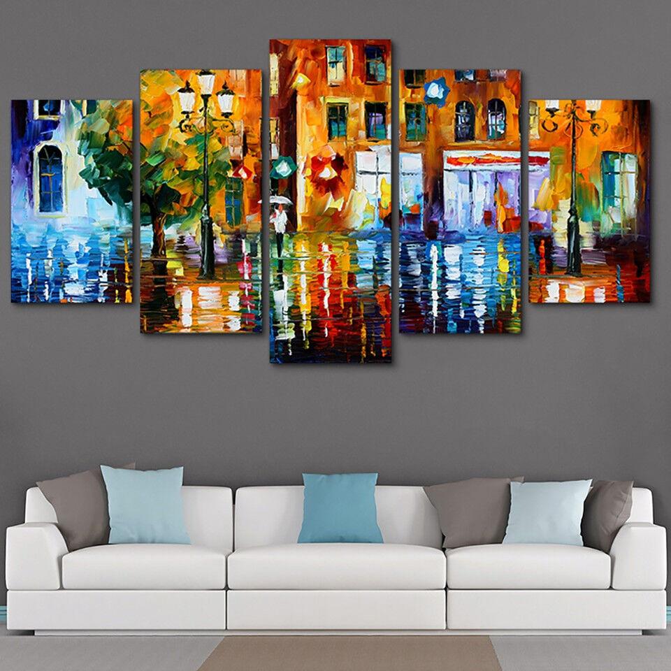 Abstract Rainy Street Night 5 Panel Canvas Print Wall Art