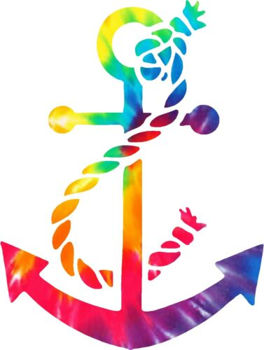Tie Dyed Anchor Sticker Decal