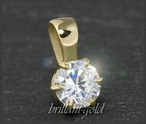 Diamant-585-Gold-Damen-Anhaenger-Brillant-0-53ct-Top-Wesselton-F-Si1-14-Karat