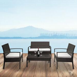 4PCS Outdoor Patio Furniture Set Rattan Wicker Garden Sectional Sofa w/Cushion