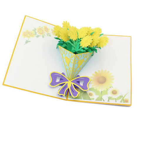 3D Flower Bouquet Thank You Greeting Card Birthday Anniversary Xmas Wedding S3