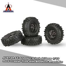 4Pcs AUSTAR AX-4020C 1.9 Inch 110mm 1/10 Rock Crawler Tires Wheel Rim Black E2I6