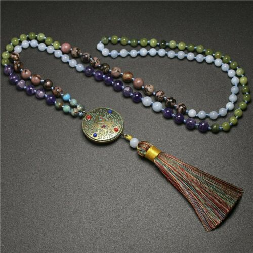 108 Beads Aquamarin/&Natural Amethyst Round Hand Knotted Tassel Necklace