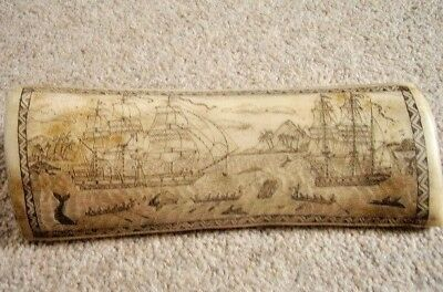 Other Maritime Antiques Antique Faux Scrimshaw Whale/walrus Tooth-horn Engraving,whaler Indian Off Tahit