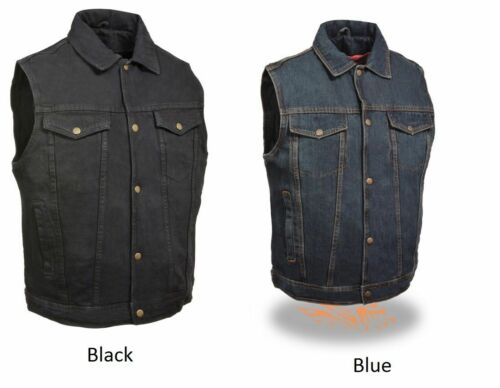 Milwaukee Leather Men/'s Snap Front Motorcycle Denim Vest W// Shirt Collar DM1331