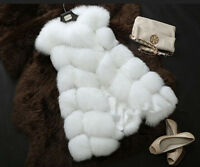 Women's Winter Faux Fox Fur Warm Vest Long Coat Jacket Slim Trench Parka Outwear