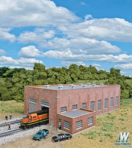 3266 Walthers Cornerstone TwoStall 130' Brick Diesel House Kit N Scale