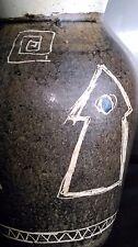 ANCIEN VASE PANSU EN GRÈS à décor abstrait signé JOSEPH TALBOT LA BORNE ( CHER )