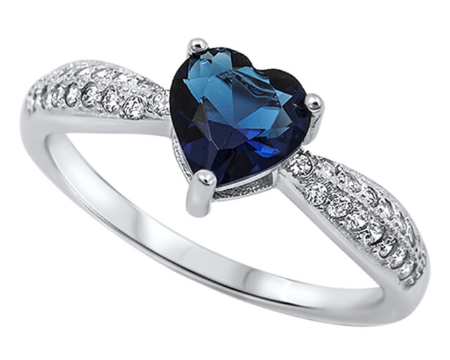 New Heart Shape Blue Sapphire Pave CZ Sterling Silver Ring