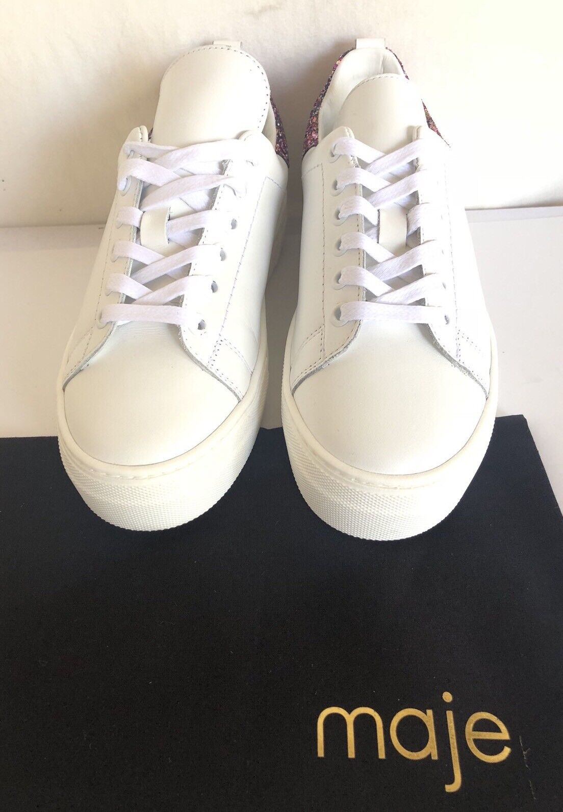 Maje NEW  280 bianca Leather Leather Leather Glitter Trainers  sz 37- 6.5 US platform 480579