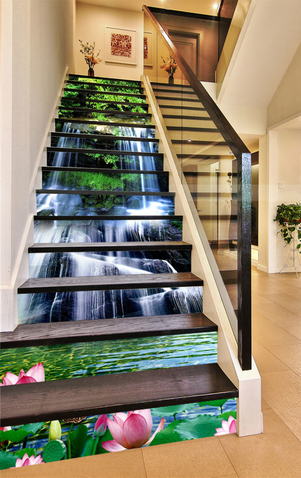 3D Lotus Teich 34 Stair Risers Dekoration Fototapete Vinyl Aufkleber Tapete DE