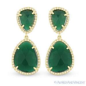 6bd8f38203369 Details about 7.82 ct Green Agate & Round Cut Diamond Dangling 14k Yellow  Gold Drop Earrings