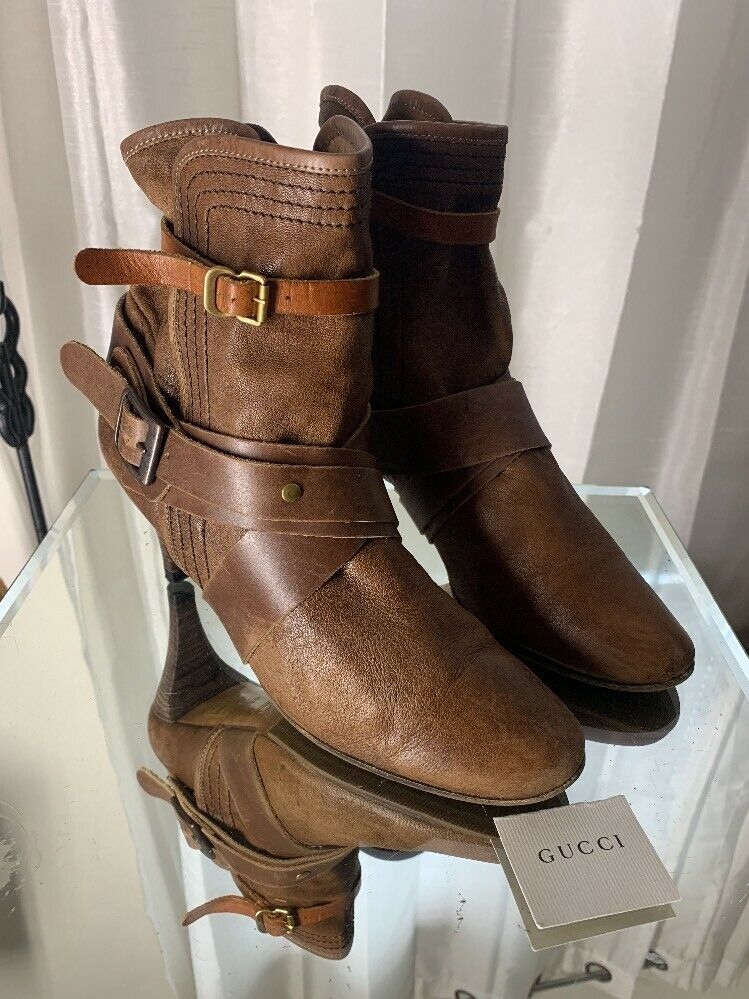Sz 38 Chloe Tracy Strap Cutout botaie marrón Leather Ankle botaie zapatos