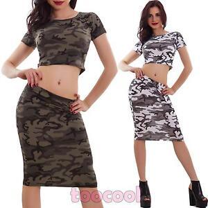 Completo-donna-top-corto-gonna-longuette-mimetico-militare-camo-nuovo-AS-7509