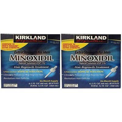 Kirkland Minoxidil 12 Month Supply 5% Extra Strength Mens Solution FREE SHIPPING