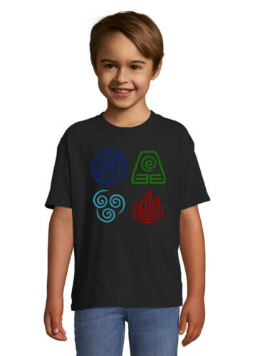 Avatar The Last Airbender Symbols Quality T Shirt Unisex Kid/'s