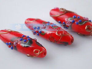 2-piece-Red-Oval-Lampwork-Glass-Charm-DIY-Loose-Spacer-Finding-Beads-43x15mm