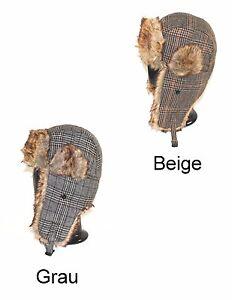 ANGEBOT-Fiebig-Pilotenmuetze-Fellmuetze-Tschapka-Fliegermuetze-Wintermuetze