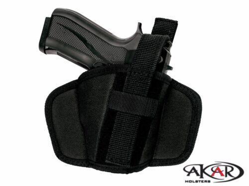 TAURUS PT-709 SLIM Leather /&  Nylon Thumb Break Pancake Belt Holster Akar