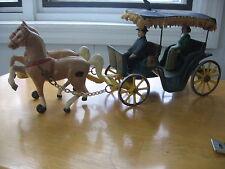 "Antique 12"" Cast Iron Horse Drawn Surry, Prancing Horses w/Gentleman Driver"