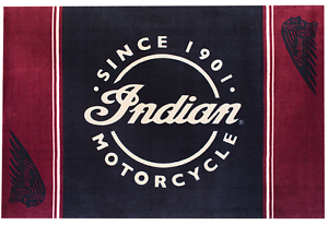 Black And Red Home Rug By Indian Motorcycle Script Logo