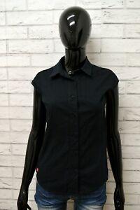 Camicia-LEVIS-Donna-Taglia-Size-S-Maglia-Blusa-Shirt-Woman-Cotone-Nero-Smanicato